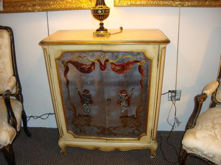 Maison Jansen Verrne Eglomise and Painted Cabinet Commode For Sale 3