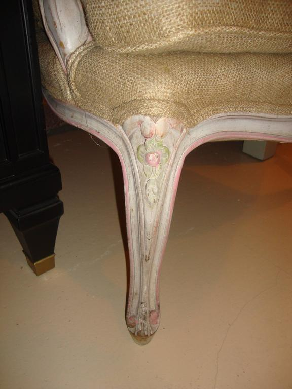 Louis XVI Style Paint Decorated Bergère Armchair In Good Condition For Sale In Stamford, CT