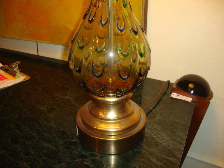 Pair of Multicolored Murano Glass Table Lamps For Sale 1