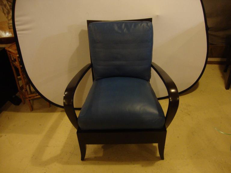 dakota jackson leather blue arm lounge chair for sale at 1stdibs