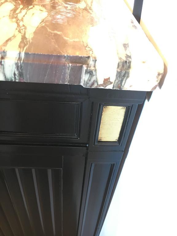 French Maison Jansen Louis XVI Style Ebonized Demilune Server Cabinet For Sale