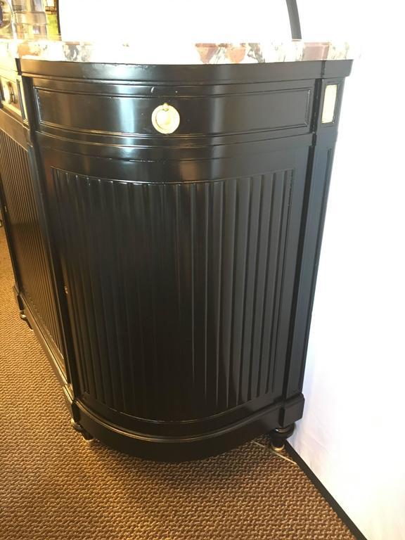 Maison Jansen Louis XVI Style Ebonized Demilune Server Cabinet In Good Condition For Sale In Stamford, CT