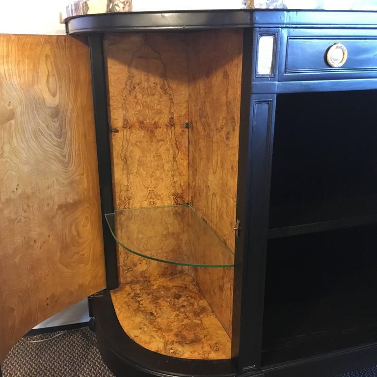 Maison Jansen Louis XVI Style Ebonized Demilune Server Cabinet For Sale 2