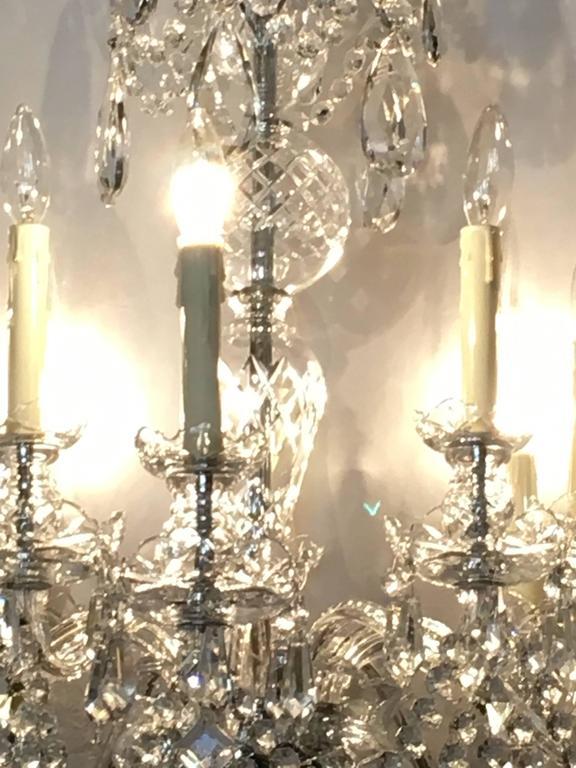 Ten Light Cut Crystal Georgian Style Chandelier For Sale