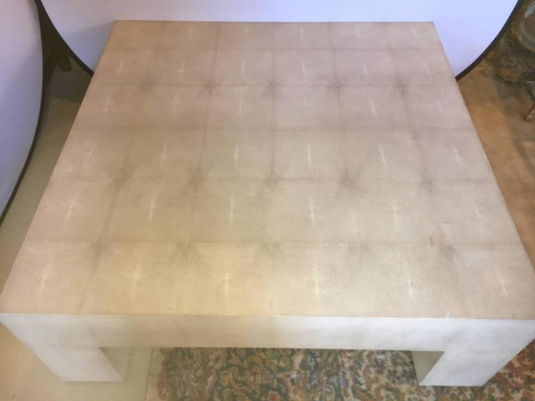 Palatial Karl Springer Style Linen Wrapped Coffee Table In Good Condition  For Sale In Stamford,