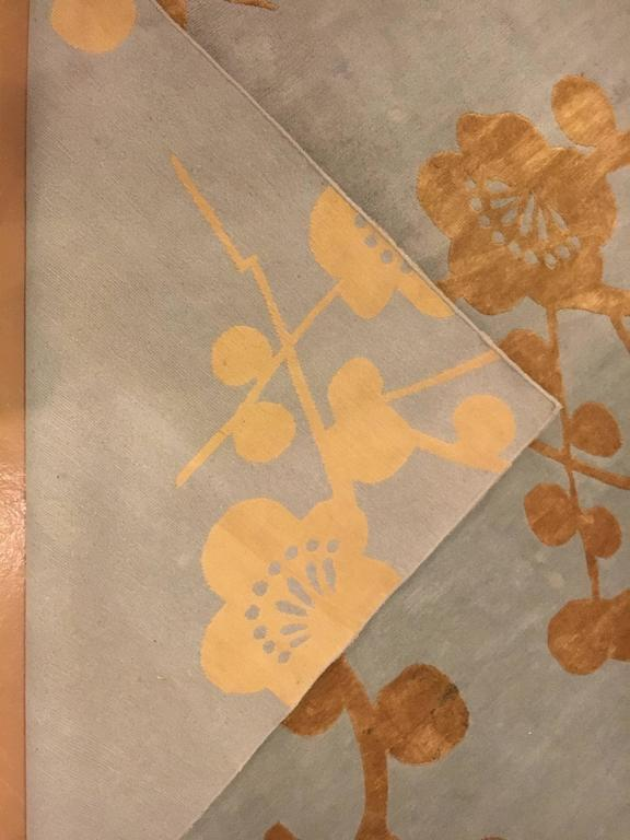 Bamboo Blossoms Rug Signed Emma Gardner Design In Good Condition For Sale In Stamford, CT