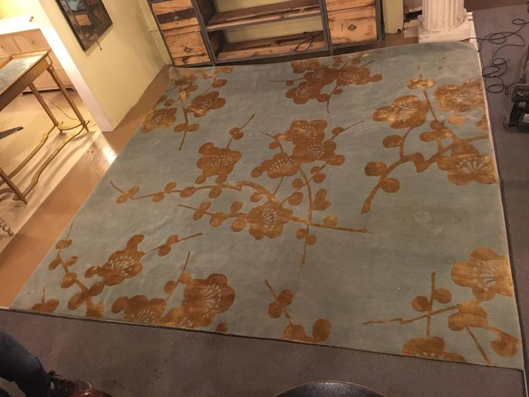 Bamboo Blossoms rug from Emma Gardner design. Finely knotted carpet of silk and wool with