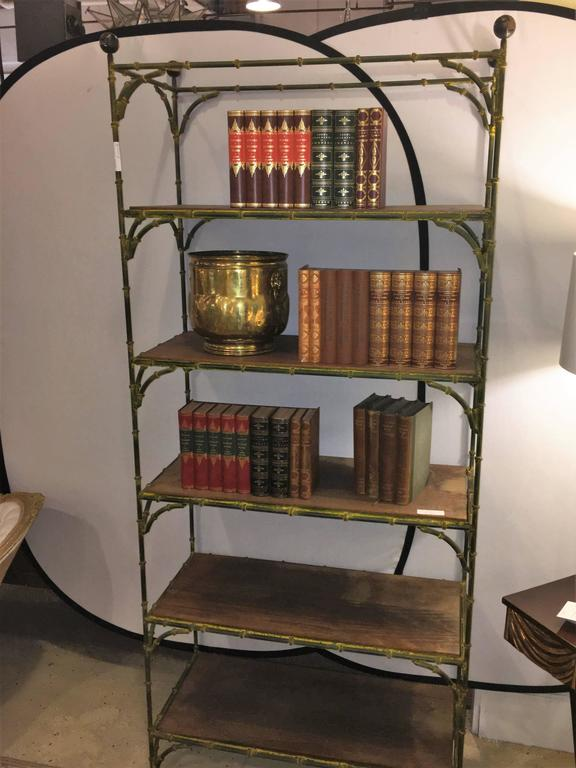 Hollywood regency rustic metal bamboo etagere by maison jansen for sale at 1s - Montant etagere metal ...