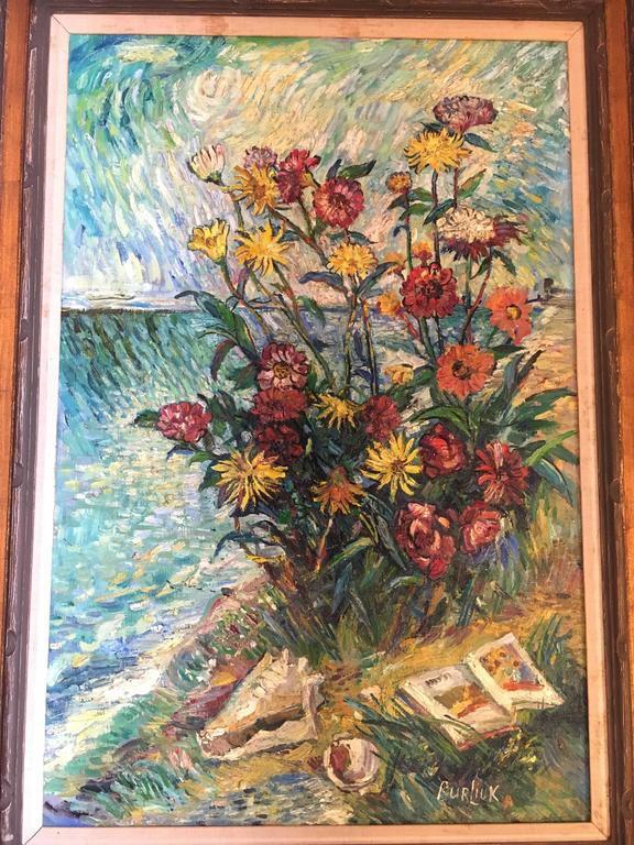 David Burliuk American/Ukrainian (1882-1967) Listed Prov. Christies NY. This fine flower arrangement depicts a person, unseen, reading a book by the sea. Finely painted.  Unframed 24 inches by 36 inches Framed 31.5 inches by 43.5 inches.
