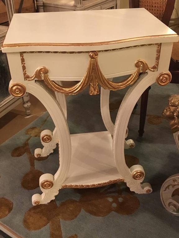 Pair of Grosfeld House Paint and Gilt Decorated End Tables or Nightstands For Sale 1