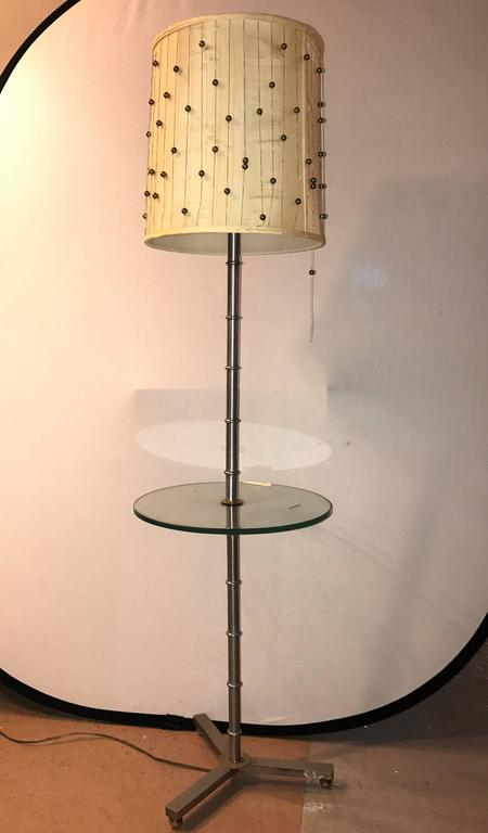 Faux Bamboo Form Chrome Standing Floor Lamp Table Art Deco