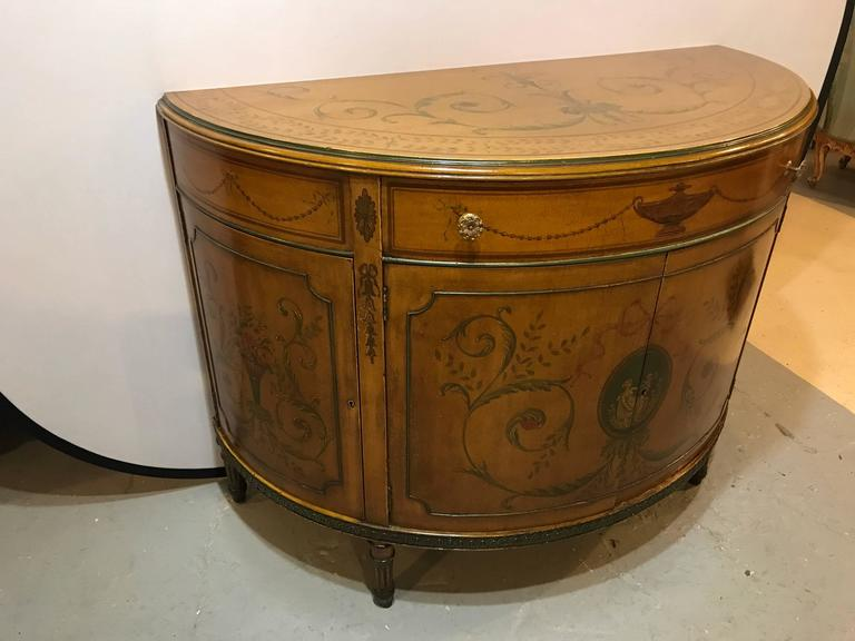An Adams Style Paint Decorated Demilune Commode Or Chest With Interior  Drawers. This Deep Highly