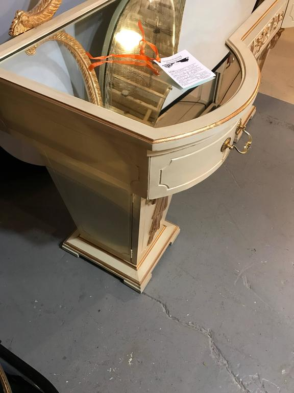 Hollywood Regency Grosfeld House Parcel Paint and Gilt Decorated Vanity or Desk For Sale 4
