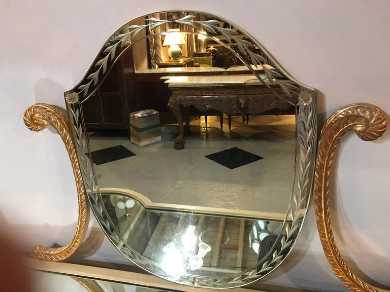 Wood Hollywood Regency Grosfeld House Parcel Paint and Gilt Decorated Vanity or Desk For Sale