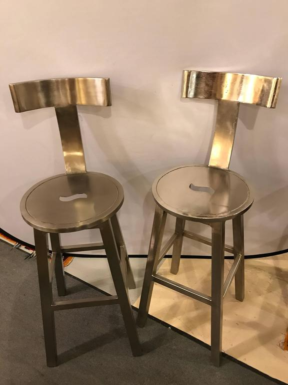 Set Of Six Seat Deco Style Steel Bar Stool At 1stdibs