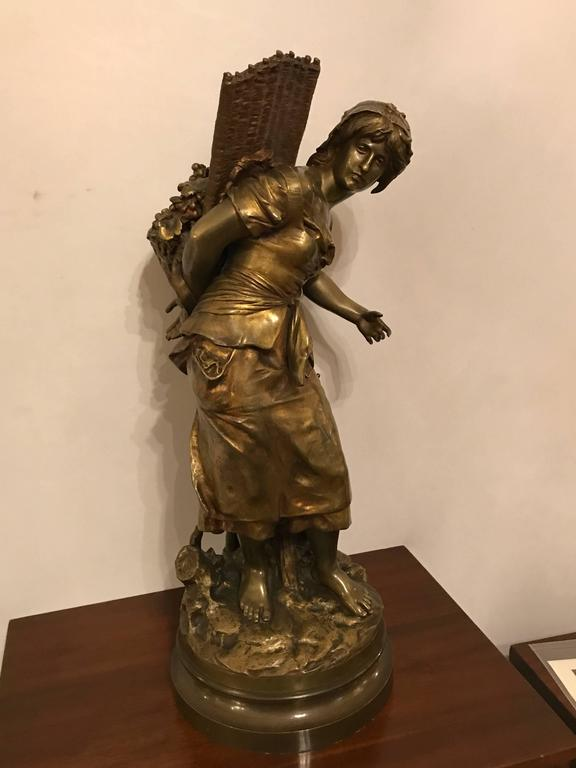 Palatial Bronze Sculpture Of A Young Girl Picking Fruit By