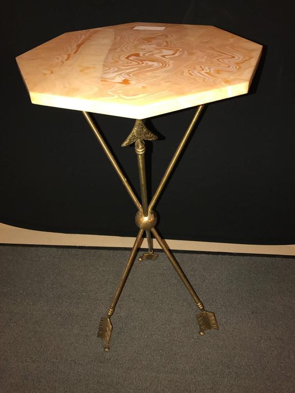 Arrow Form Bronze End Table Base Or Pedestal On Tri Pod Legs 2