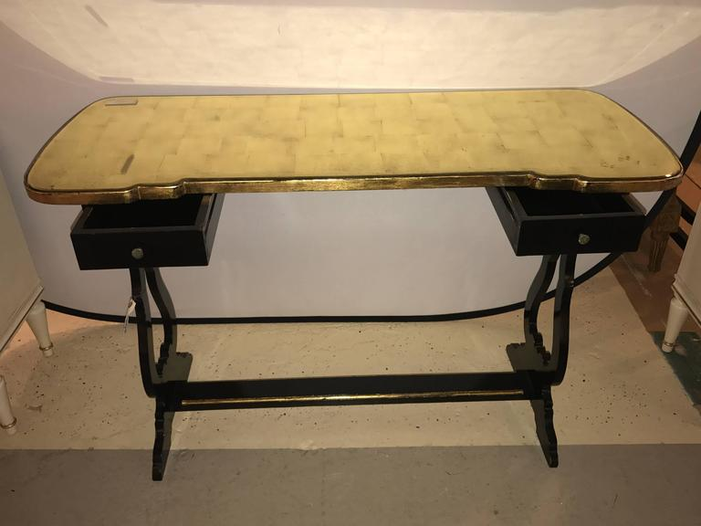 20th Century French Ebonized Console Table or Desk with Gilt Glass Top Jansen Style For Sale