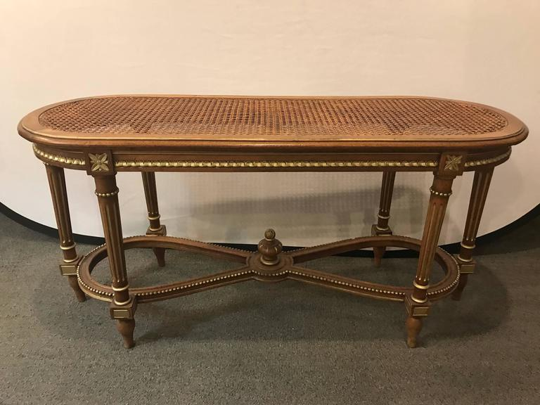 French carved cain seat louis xvi style bench for sale at