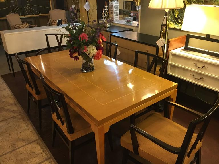 20th Century Stamped Parzinger Originals Bleached Mahogany Dining Table For Sale