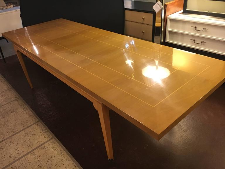 Stamped Parzinger Originals Bleached Mahogany Dining Table For Sale 1