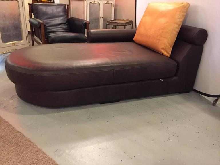 Chaise longue or daybed in brown leather with cushion by for Brown leather chaise longue