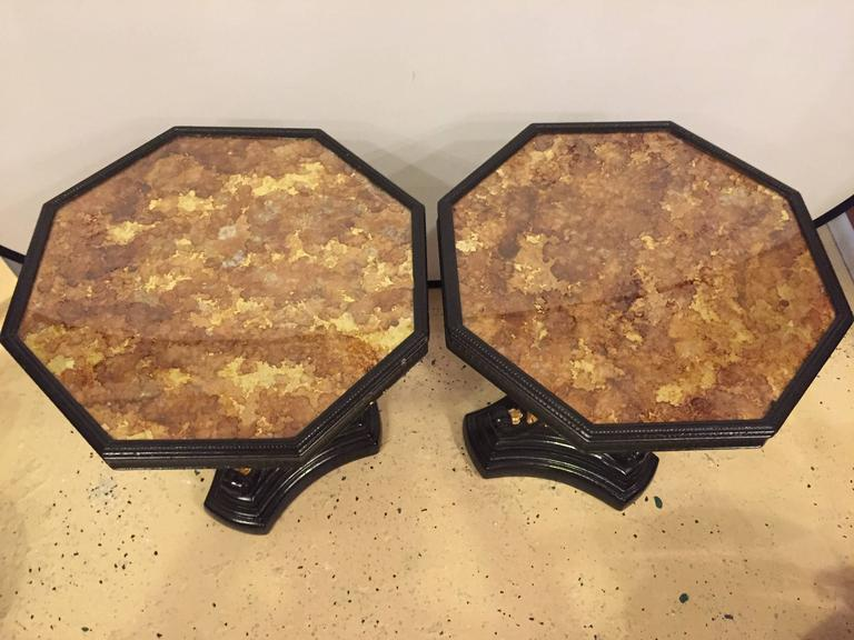 Pair of Gilt Glass Top Ebonized and Gilt Decorated End or Side Tables In Good Condition For Sale In Stamford, CT