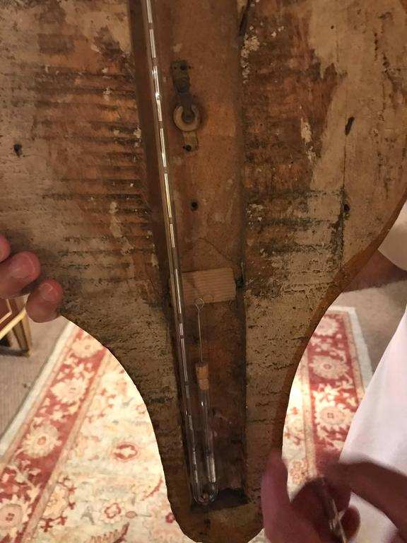 Italian Parcel Paint and Gilt Decorated Gilt Gold Antique Barometer In Good Condition For Sale In Stamford, CT