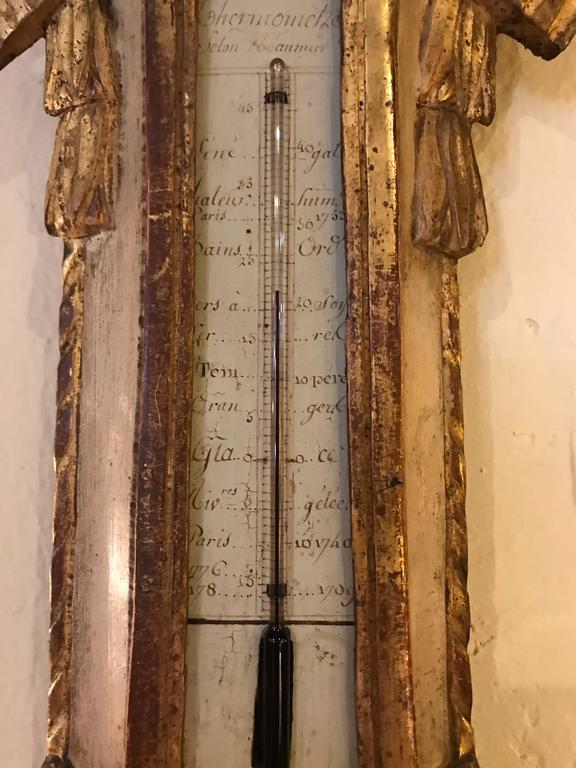 Italian Parcel Paint and Gilt Decorated Gilt Gold Antique Barometer For Sale 1