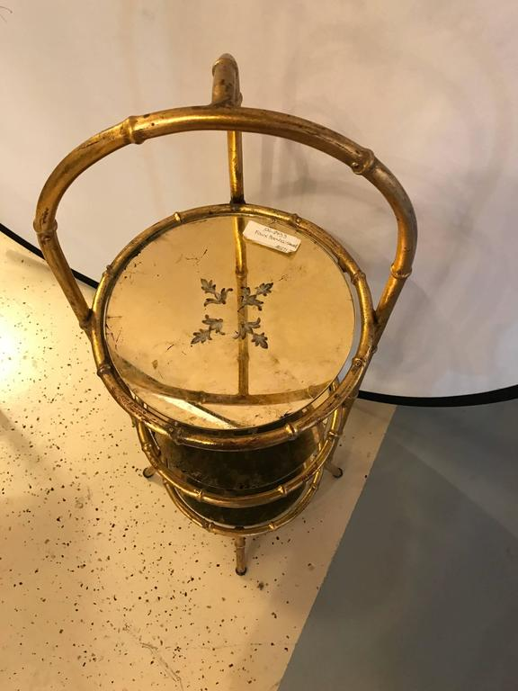 Hollywood Regency Style Faux Bamboo Églomisé Three-Tier Ètagerè or Candle Stand In Good Condition For Sale In Stamford, CT