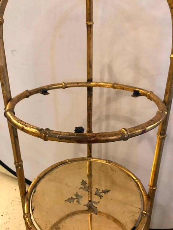 Hollywood Regency Style Faux Bamboo Églomisé Three-Tier Ètagerè or Candle Stand For Sale 4