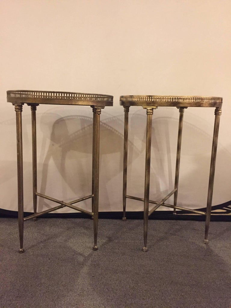 Pair Of Metal Base Galleried Marble Top Circular End Tables Bouilliottes.