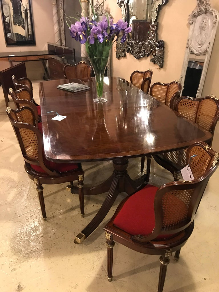 Set of Eight Fine Bronze-Mounted Louis XVI Style Dining Chairs Manner of Jansen For Sale 5