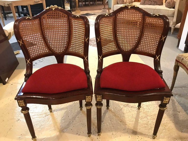 French Set of Eight Fine Bronze-Mounted Louis XVI Style Dining Chairs Manner of Jansen For Sale