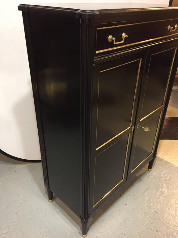 Maison Jansen Style Hollywood Regency Inspired Ebonized Hi Chest In Good Condition For Sale In Stamford, CT
