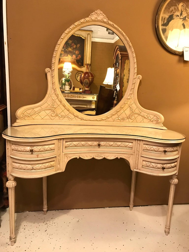 Hollywood Regency Vanity Desk With Mirror And Chair In