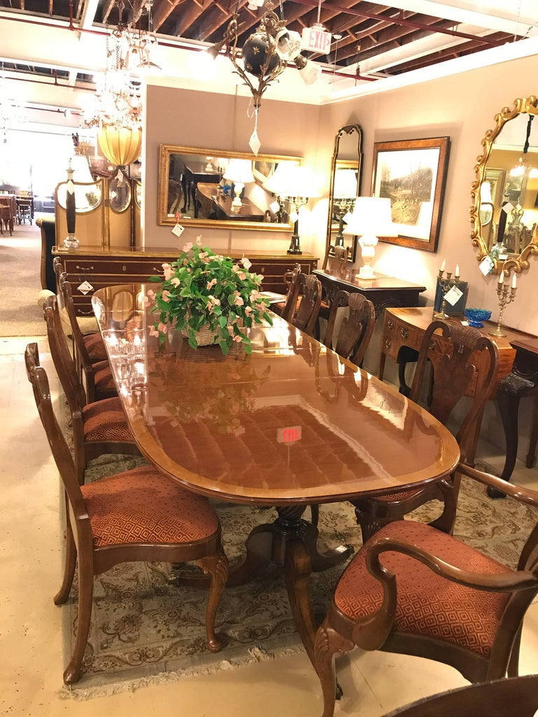 20th Century Set of Ten Queen Anne Style Dining Chairs, Pair of Arm and Eight Side Chairs For Sale