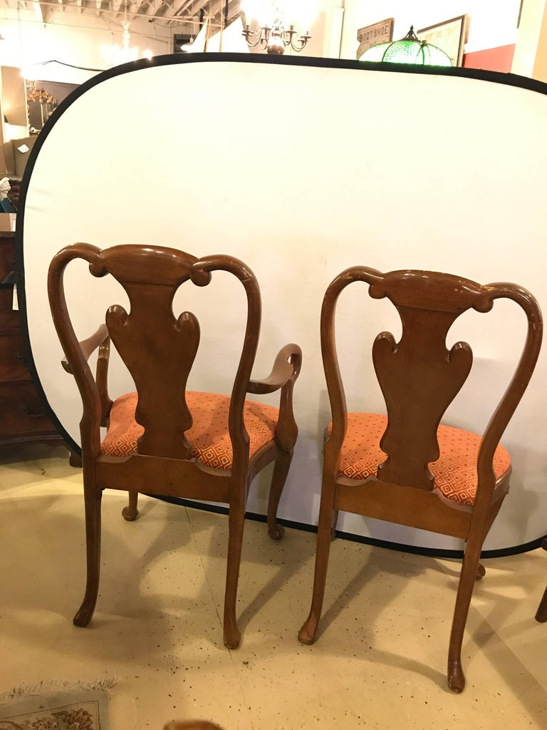 Set of Ten Queen Anne Style Dining Chairs, Pair of Arm and Eight Side Chairs For Sale 1