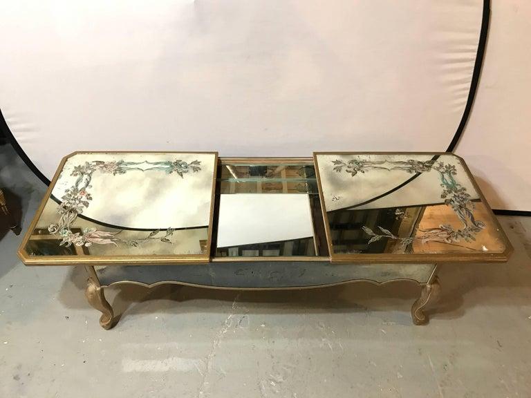 Hollywood Regency Italian Paint Decorated Sliding Mirror