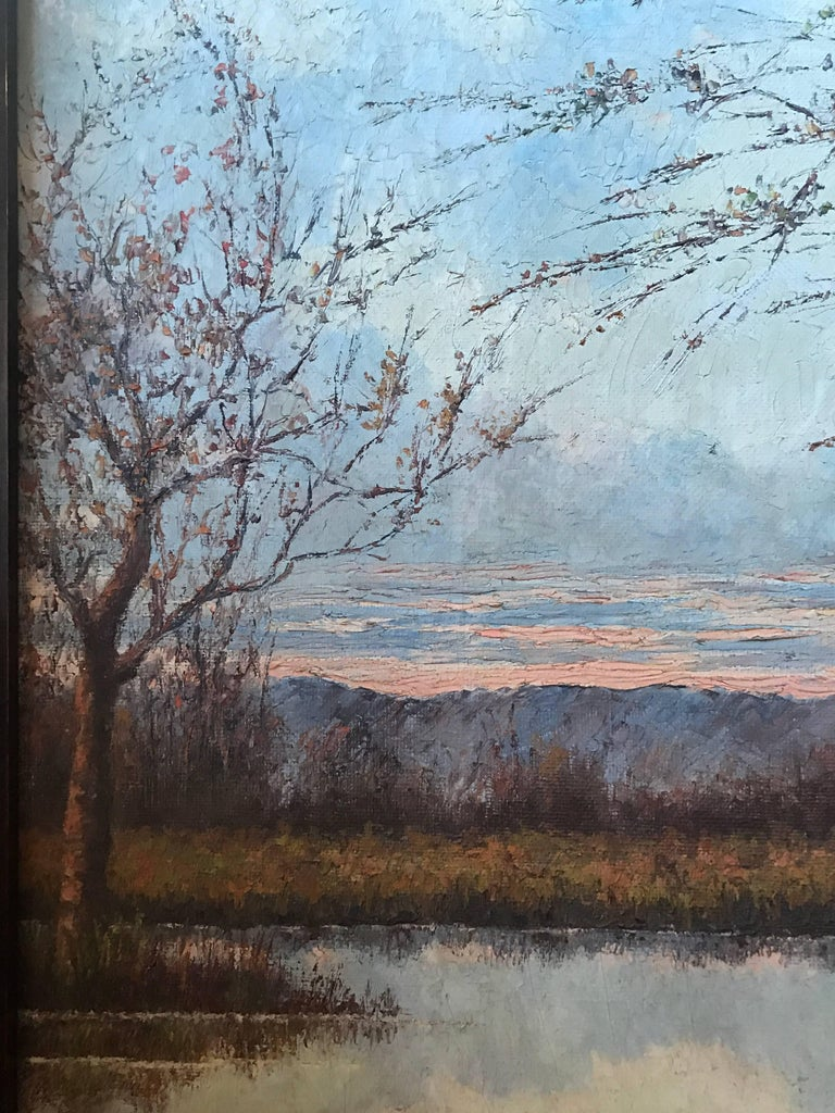 20th Century Framed Oil on Canvas Painting or a Lake Landscape Signed and Dated, 1910 For Sale
