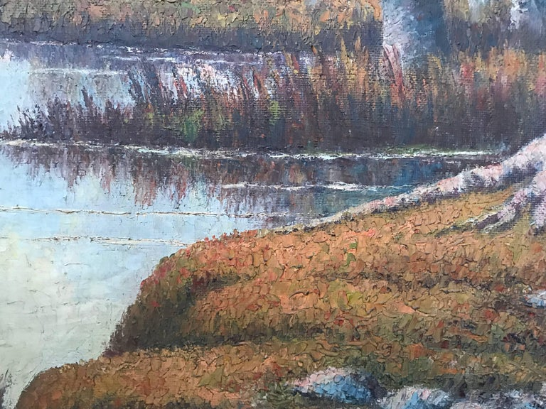 Framed Oil on Canvas Painting or a Lake Landscape Signed and Dated, 1910 For Sale 3