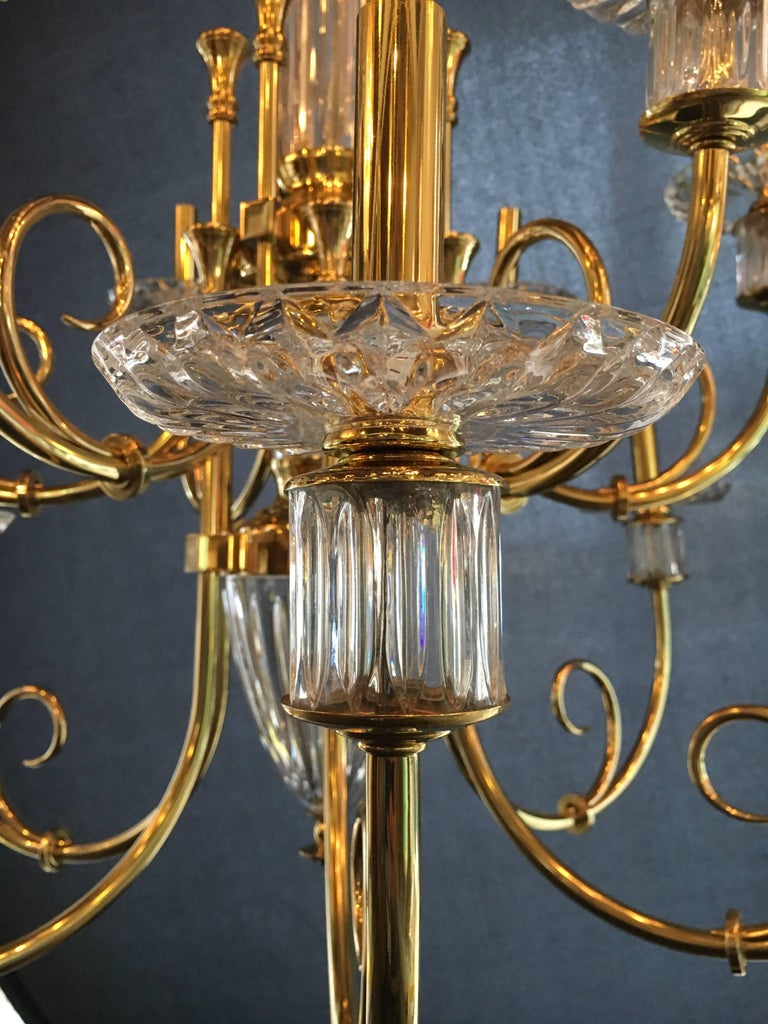 Custom 12-Light Bronze and Cut Crystal Chandelier with Chain and Crystal Canopy For Sale 1