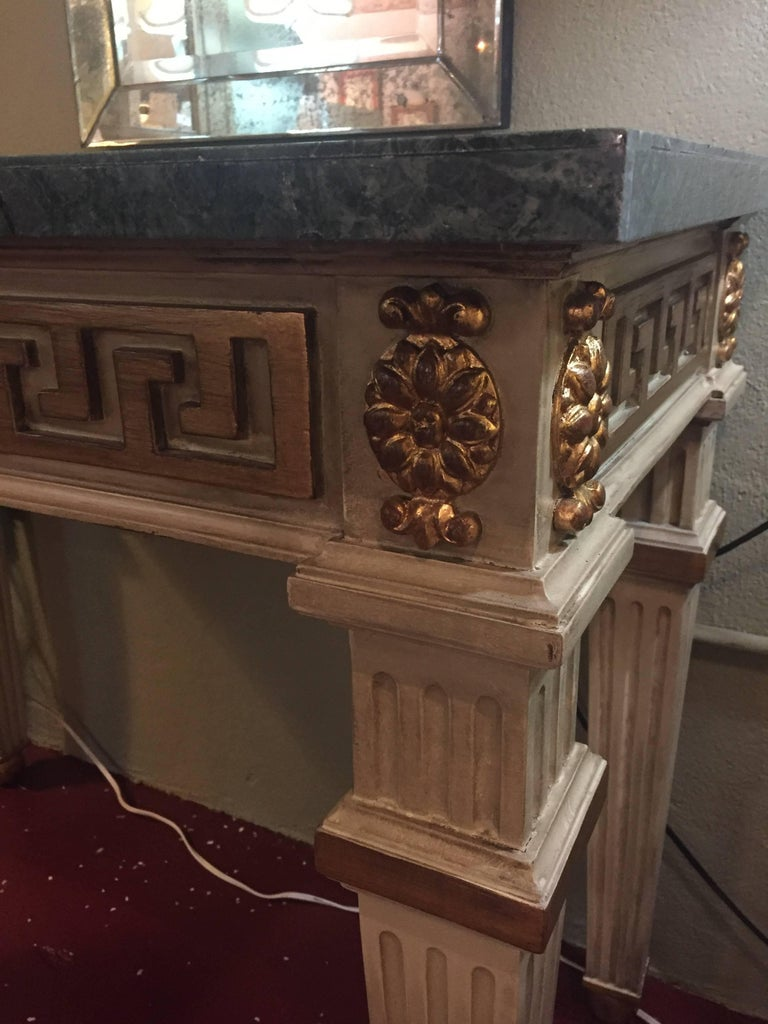 Pair of Parcel Gilt and Paint Decorated Checkerboard Marble-Top Consoles For Sale 3