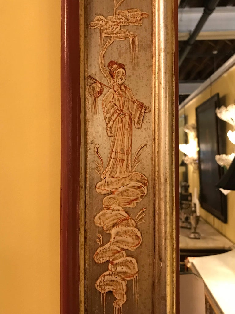 Fine Silver Gilt with Oriental Decoration La Barge Chinoiserie Mirror In Good Condition For Sale In Stamford, CT