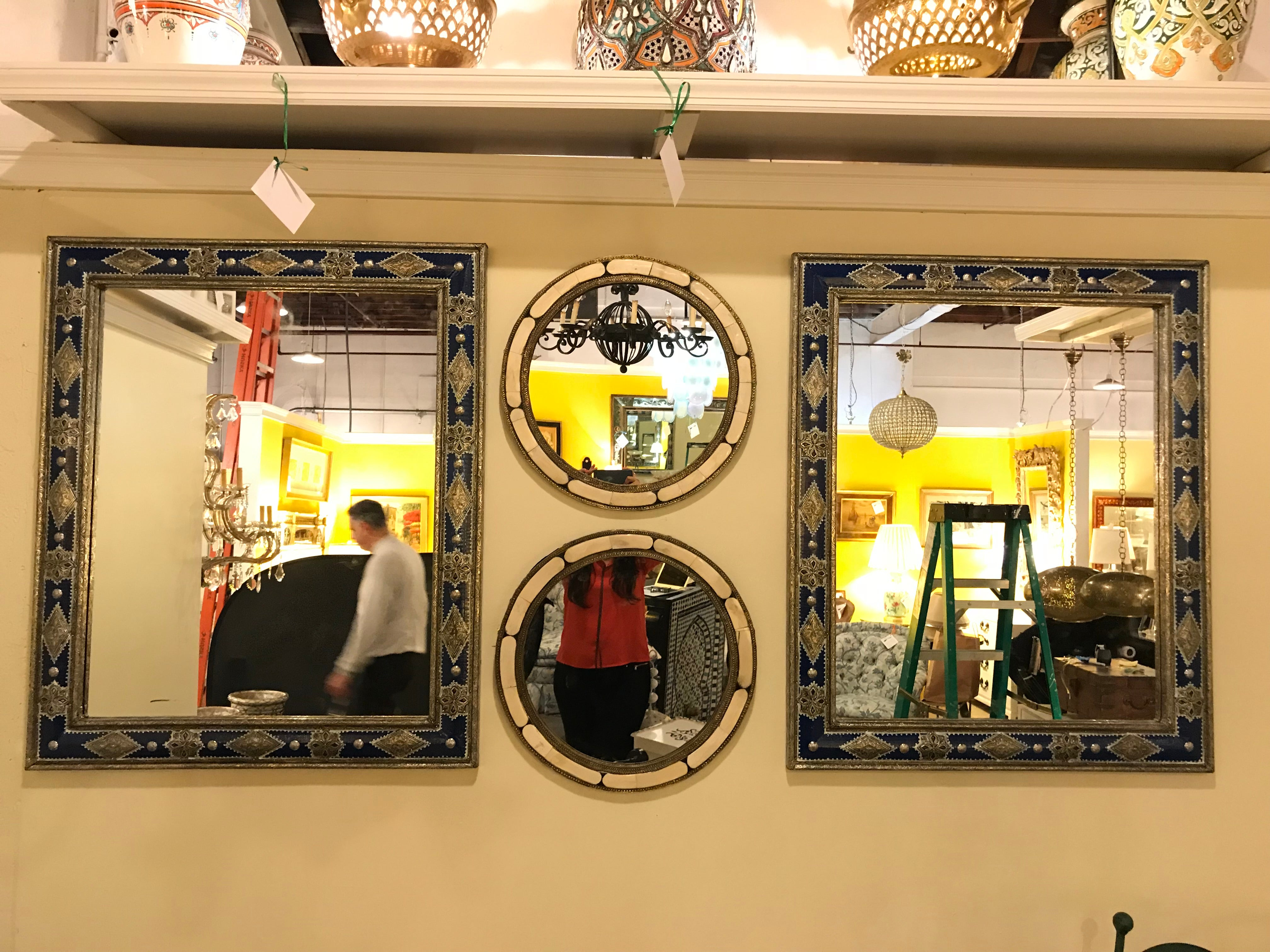 Large Pair of Moroccan Moorish Style Blue Mirrors For Sale at 1stdibs