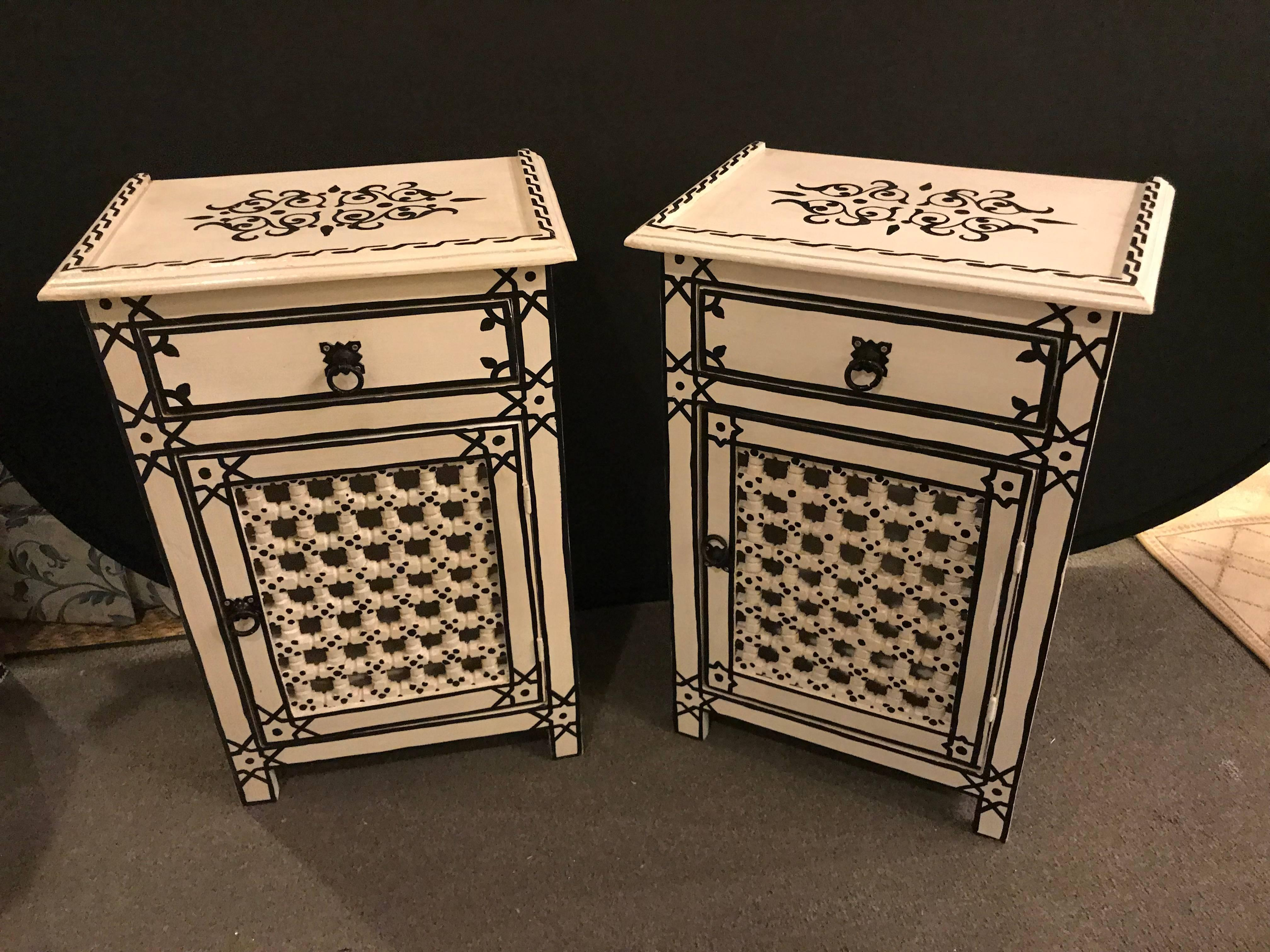 Pair Of Hand Painted Moroccan Nightstands / End Tables. Hand Painted By  Master