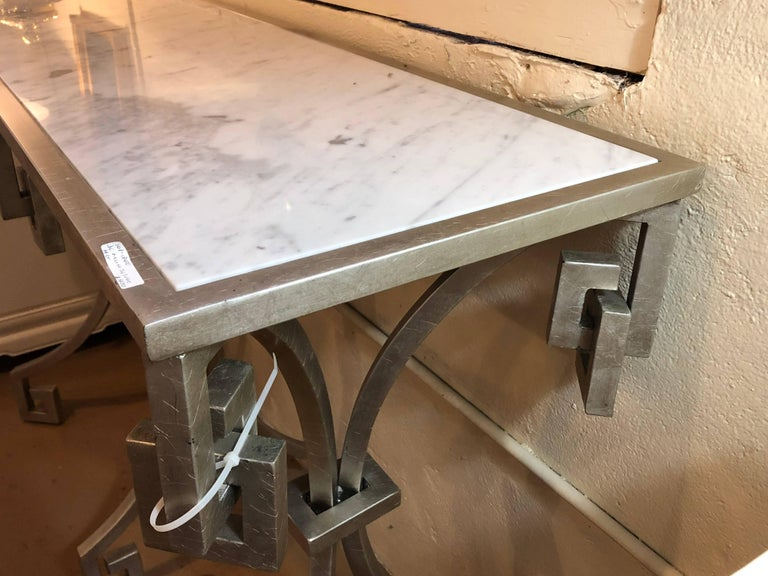 Jonathan Charles Marble-Top Designer Metal Design Console Table For Sale 3
