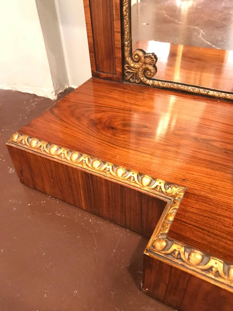 Pair of Regency Style Brass Inlaid Rosewood Parcel-Gilt and Marble Consoles 9