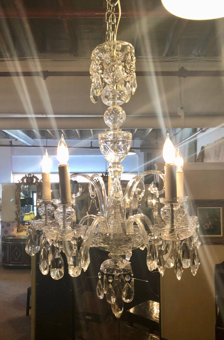 Fine Cut Crystal Georgian Chandelier with Large Pendants For Sale 3