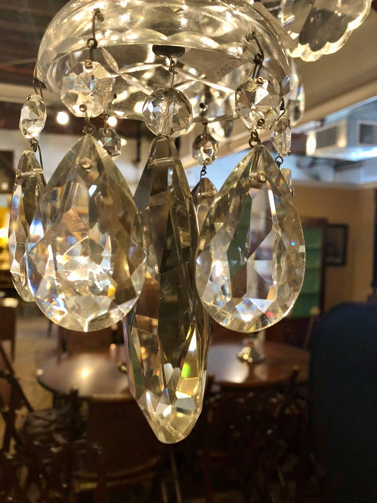 Fine Cut Crystal Georgian Chandelier with Large Pendants For Sale 4